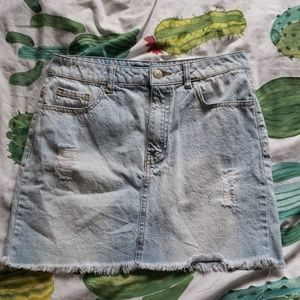 FOREVER 21 | distressed Jean skirt